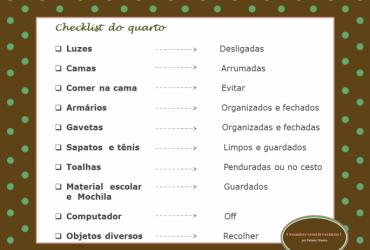Checklist da organização do quarto