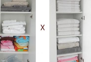 Dicas lá de casa- organizando e dobrando as toalhas