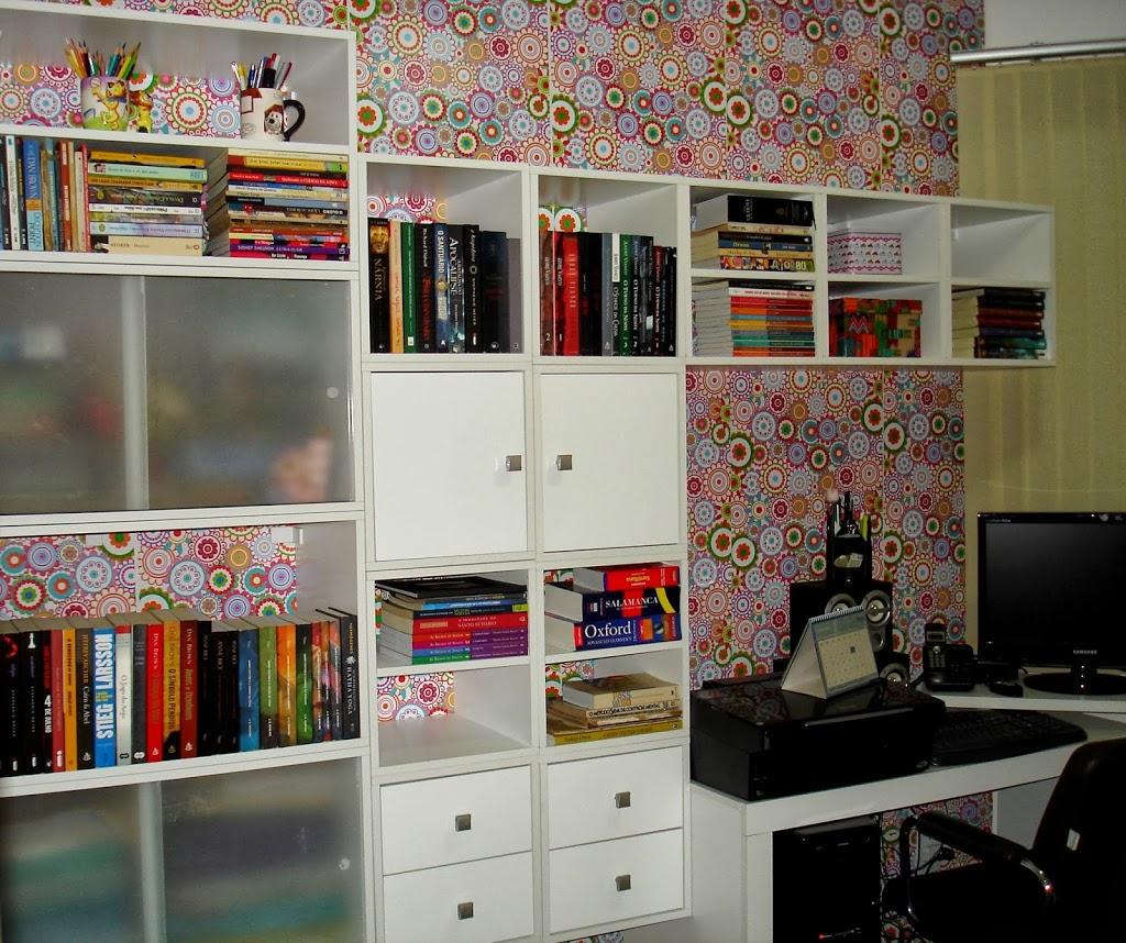 Meu cantinho- escritório decorado com papel contact