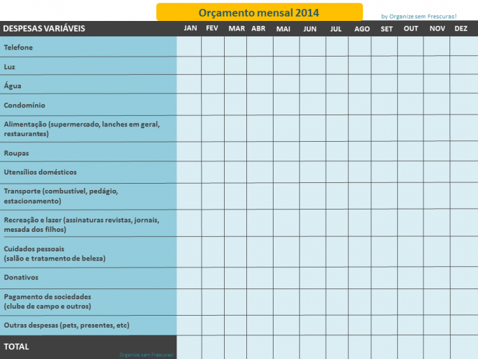 Planilha de gastos 2014