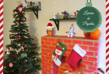 Meu Cantinho especial de Natal: lareira feita com caixas de papelão