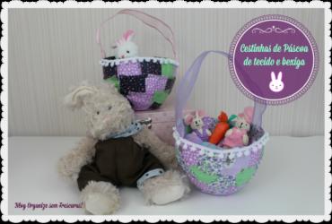 Faça você mesmo: cestinha de Páscoa com retalhos de tecido e balão