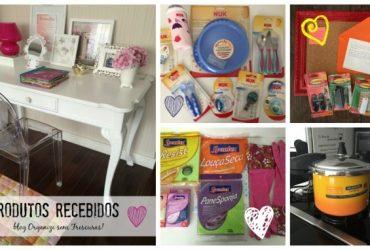 Produtos recebidos de organização, decoração, maternidade e limpeza da casa