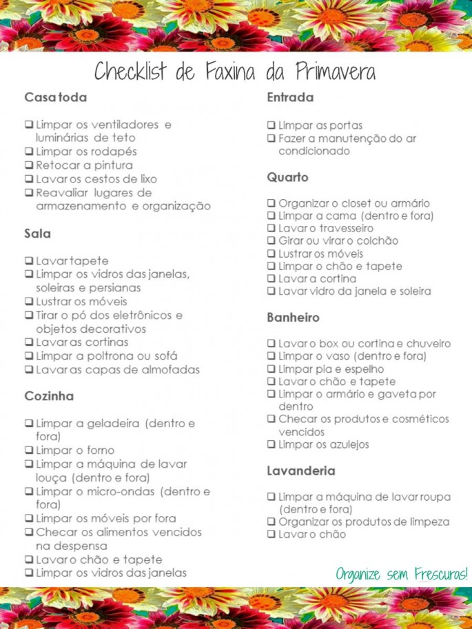 Checklist de faxina