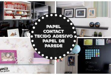 Minha casa decorada com Papel Contact, Tecido Adesivo e sobras de Papel de Parede