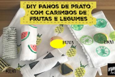 DIY Panos de Prato Divertidos com carimbos de frutas e legumes